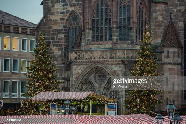 Two huge Christmas trees in front of the Frauenkirche and the Christmas Market Christmas Time in the Nuremberg downtown