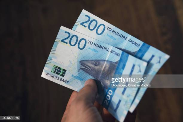 Two hundred denomination kroner banknotes