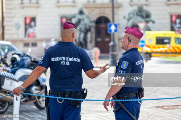 two hungarian riot policemen - gwengoat stock pictures, royalty-free photos & images