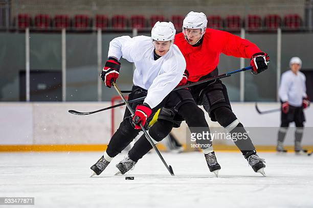 two ice hockey players dueling - ice hockey stock pictures, royalty-free photos & images