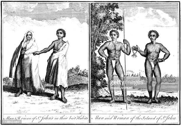 Two illustrations show a man and a woman from the island of St John in the Cape Verde Islands 1745 in one view the caption notes them dressed 'in...