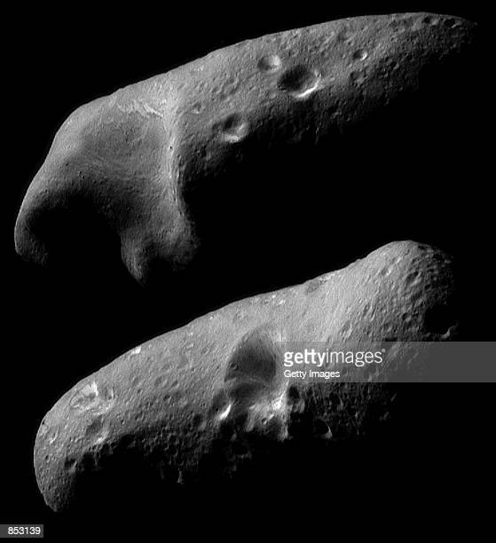Two image mosaics of the two opposite hemispheres of the asteroid Eros taken by the robotic NEAR Shoemaker space probe February 23 2000 from a...