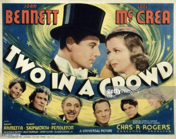 Two In A Crowd US lobbycard top from left Joel McCrea Joan Bennett bottom second third fourth and fifth Alison Skipworth Henry Armetta Reginald Denny...
