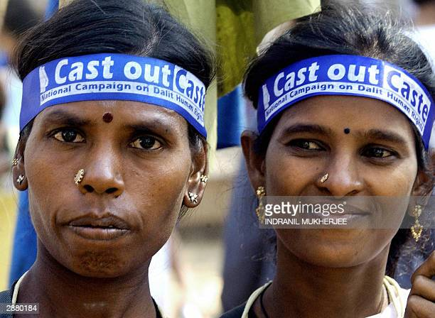 Two Indian female Dalits members of Hinduism lowest caste march at the 2004 World Social Forum in Bombay 19 January 2004 Antiglobalisation activists...