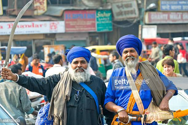 Two indian Sikh men in traditional costume