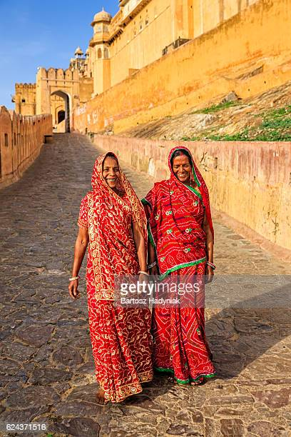 Two Indian women on the way to Amber Fort, India