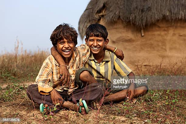 Two Indian young boys in desert village, Rajasthan