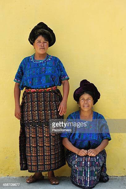 two indigenous women from lake atitlan, guatemala - mayan people stock photos and pictures