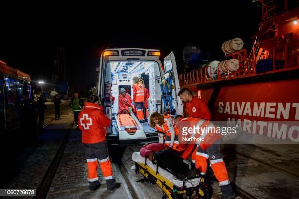 Two injured female migrants onto an ambulance to be taken to the hospital 2 Malaga The Maritime Spanish Vessel SAR Mastelero rescued three dinghies...