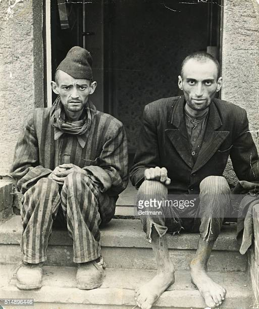 Two inmates in a concentration camp during World War II