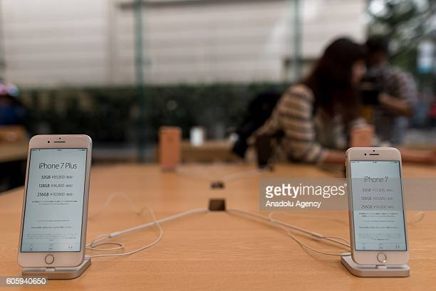 Two iPhone 7 are seen being displayed at Apple Store in Omotesando Avenue in Tokyo Japan on September 16 2016 Apple has released for sale its new...