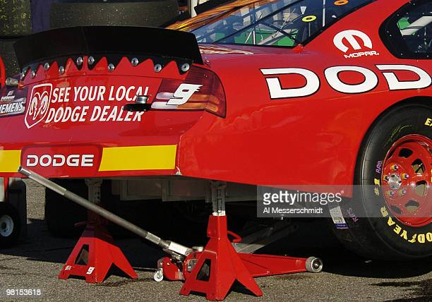 Two jacks support the rear end of the Kasey Kahne Dodge in the garage before the Subway 400 NASCAR race February 22 2004 at North Carolina Speedway...