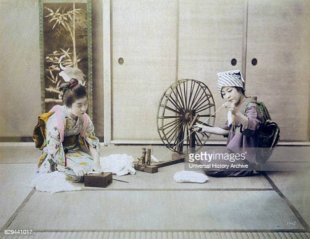 Two Japanese Women Spinning Cotton Hand Colored Albumen Photograph circa 1880