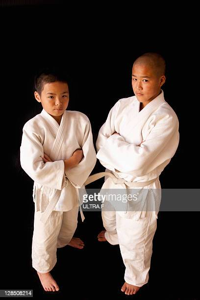 Two judo players of the boy