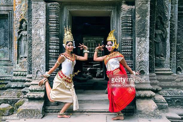 Two khmer Apsara dancers, Angkor wat, Cambodia