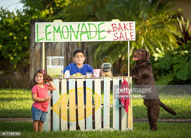Two kids and a dog selling lemonade