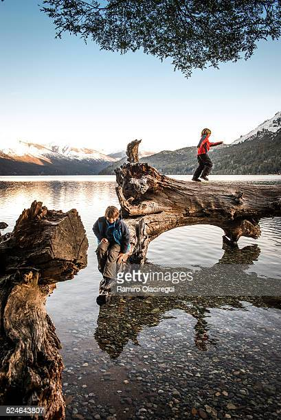 two kids playing on a log on a lake - bariloche fotografías e imágenes de stock