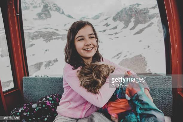 two kids traveling in cablecar in tyrol, austria - nur kinder stock-fotos und bilder