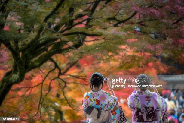 a two kimono women taking a photo in a beautiful moment during autumn season in japan - kyoto japan stock photos and pictures