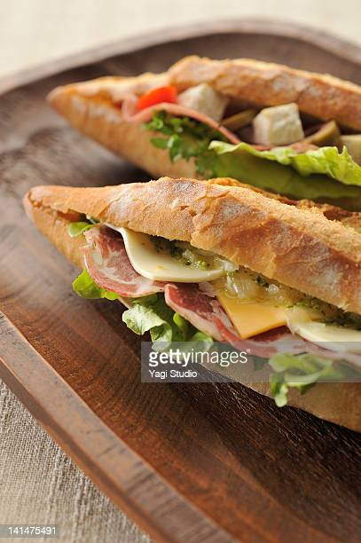 Two kinds of baguette sandwiches