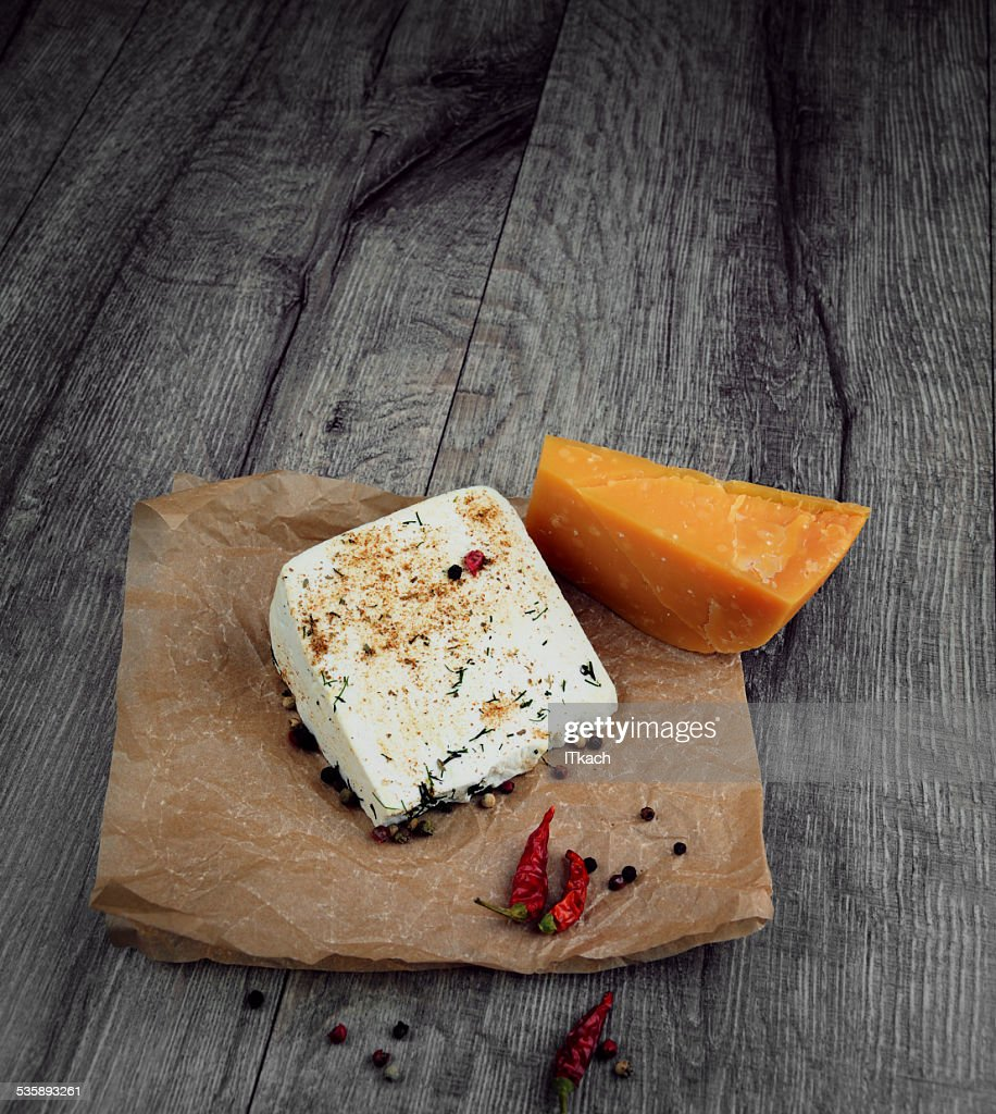 Two kinds of cheese : Stockfoto