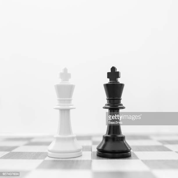 two king chess pieces on a chess board - tabuleiro de xadrez imagens e fotografias de stock