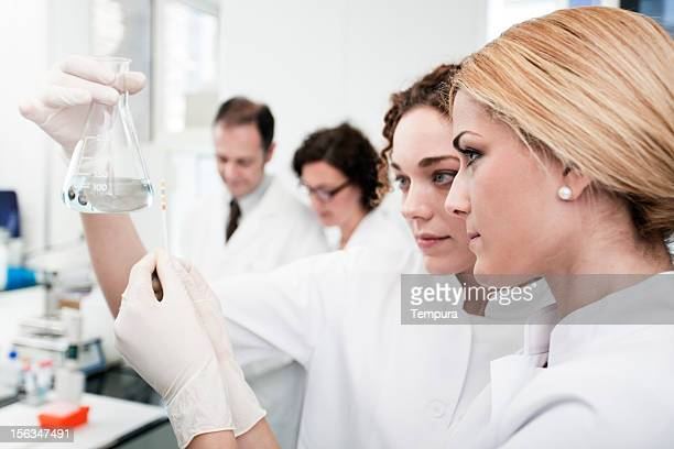 two laboratory technicians at work, other scientist on background. - ph value stock pictures, royalty-free photos & images