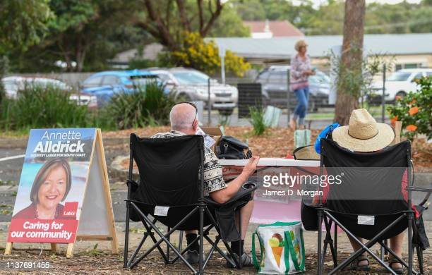 Two Labour support staff outside Culburra Public School in the electoral district of South Coast on March 23 2019 in Culburra Beach Australia The...