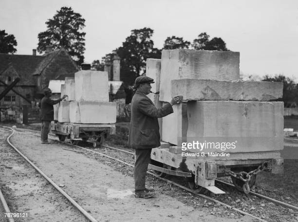 Two laden trolleys at a Bath stone quarry in Corsham Wiltshire 24th October 1928