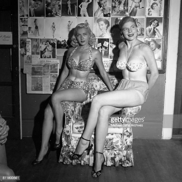 Two ladies pose in Harold Lloyd office in Los Angeles CA