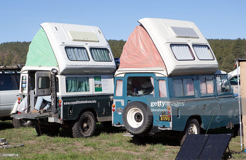 Two Landrovers with pop top tents at Overland Expo  Stock Photo & Two Landrovers With Pop Top Tents At Overland Expo Stock Photo ...