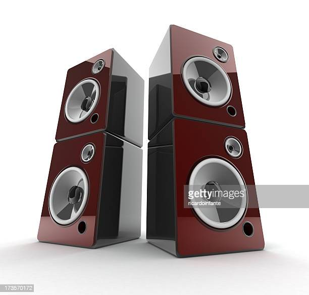 Two large speakers on a white background