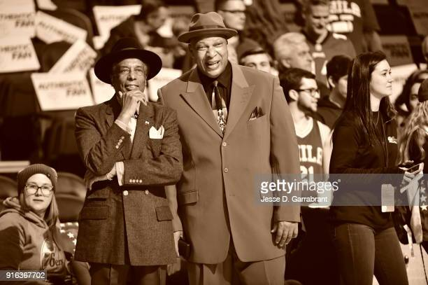 Two Legends watch from afar Sonny Hill and World B Free Look on during PreGame where the Philadelphia 76ers take on the New Orleans Pelicans at Wells...