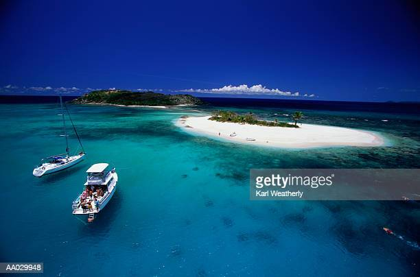 Two Leisure Boats off a Caribbean Island