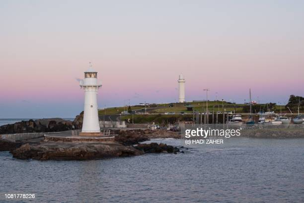Two Lighthouses at Wollongong Harbour at dusk | New South Wales | Australia