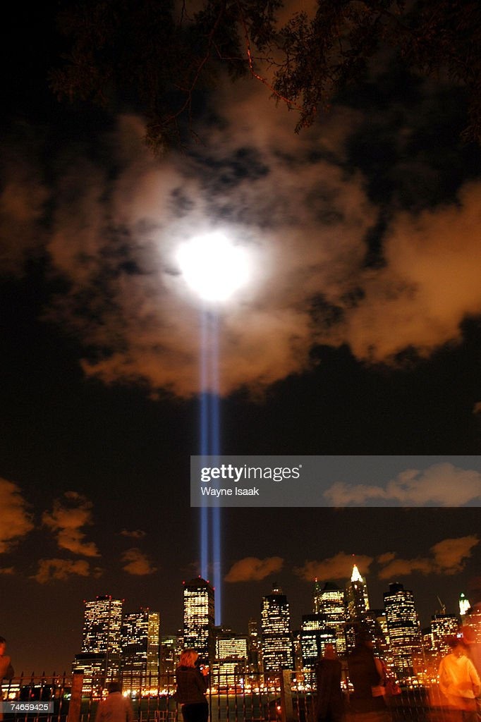 Two lights shining from West and Morris streets in Manhattan honor the World Trade Center Twin Towers in 'A Tribute in Light' on September 11, 2006.
