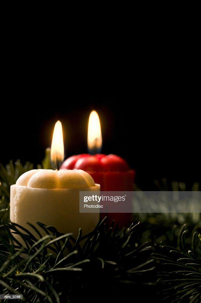 Two lit candles : Foto de stock