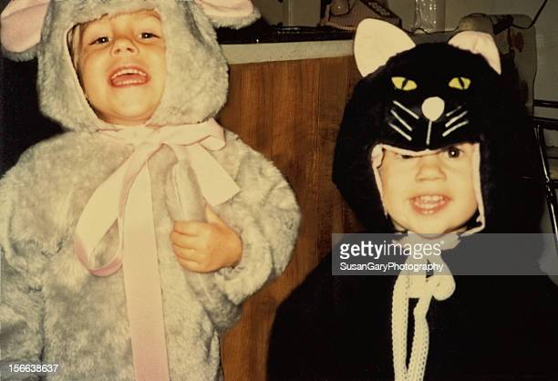 Two Little Boys Dressed as Cat and Mouse