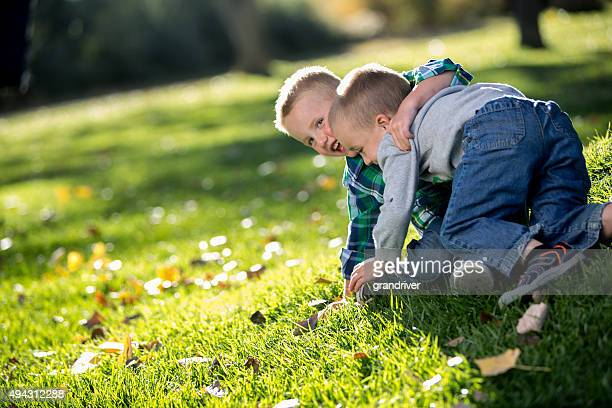 Two Little Boys Wrestling on the Grass in a Park
