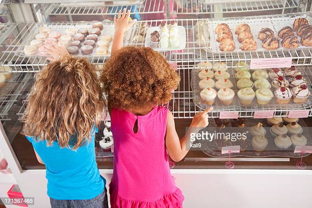 Two little girls in bakery