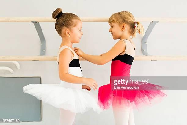 Two little girls in tutu in dance studio.
