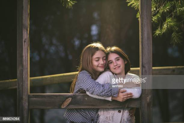 Two little girls playing in the wooden park.