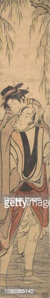 Two Lovers Crossing a River, late 18th century. Artist Torii Kiyonaga.
