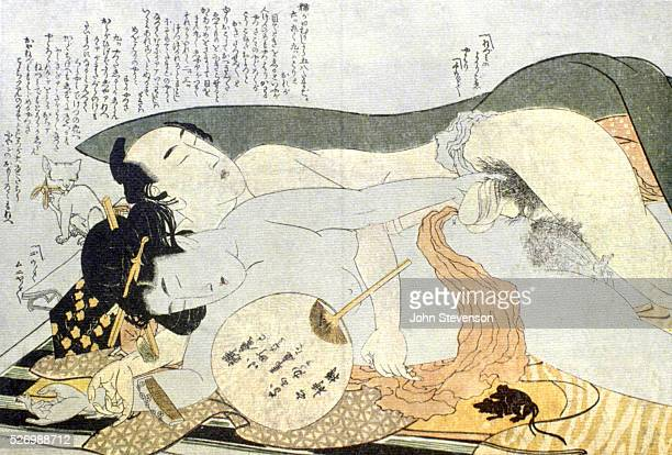 Two lovers sleeping after their exertions Note the cat and mice whimsical visual comments by the artist A shunga print shunga means spring picture...