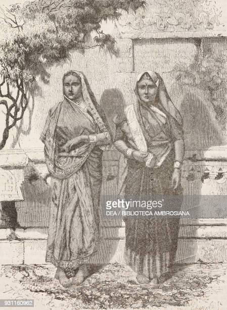 Two lowercaste women Mumbai India drawing by Emile Therond from Voyage au Malabar by Alphonse Fleuriot de Langle from Il Giro del mondo Journal of...