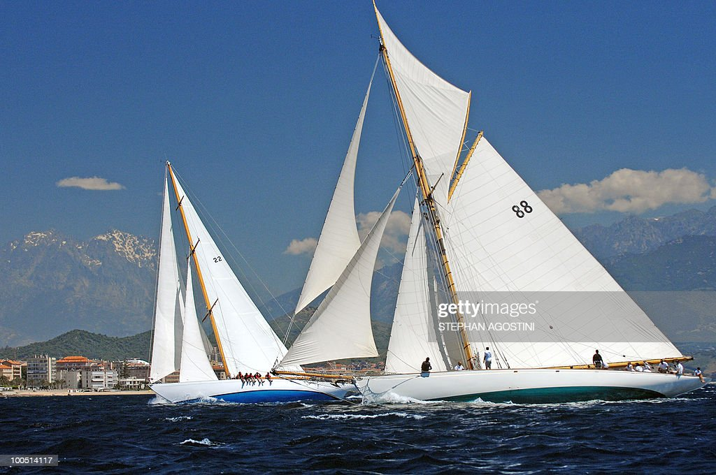 Two luxury yachts sail on May 25, 2010 off Ajaccio, on the French mediterranean island of Corsica, during the Regates Imperiales (Imperial regattas).