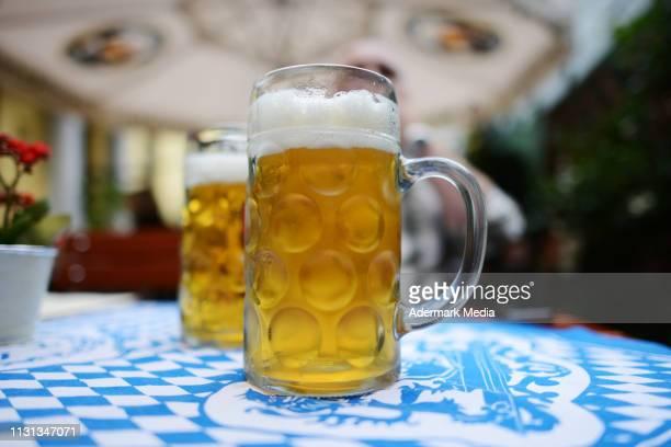 Two Maß of octoberfest bier on a table in Munich