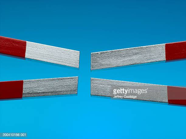 two magnets, close-up of poles - horseshoe magnet stock pictures, royalty-free photos & images