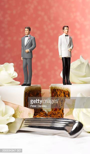 Two male figurines on separate pieces of wedding cake, close-up