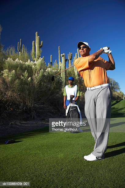 Two male golfers on golf course